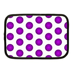 Purple And White Polka Dots Netbook Sleeve (medium)
