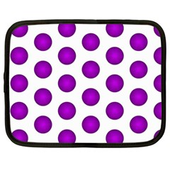 Purple And White Polka Dots Netbook Sleeve (large)