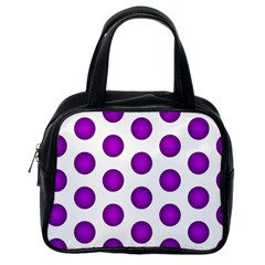 Purple And White Polka Dots Classic Handbag (One Side)