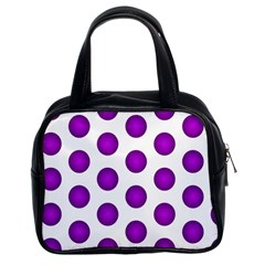 Purple And White Polka Dots Classic Handbag (two Sides)
