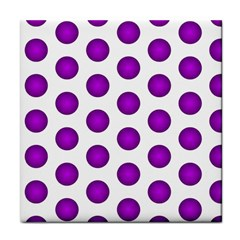 Purple And White Polka Dots Face Towel