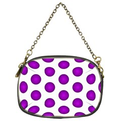 Purple And White Polka Dots Chain Purse (One Side)
