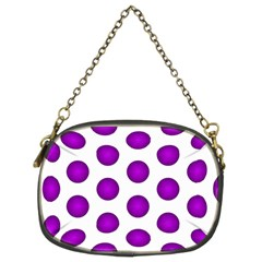 Purple And White Polka Dots Chain Purse (Two Sided)