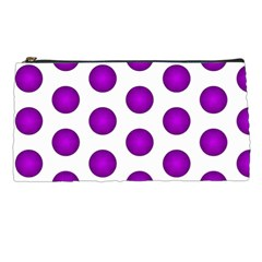 Purple And White Polka Dots Pencil Case