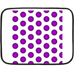 Purple And White Polka Dots Mini Fleece Blanket (Two Sided)