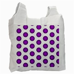 Purple And White Polka Dots White Reusable Bag (Two Sides)