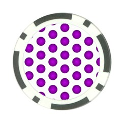 Purple And White Polka Dots Poker Chip (10 Pack)