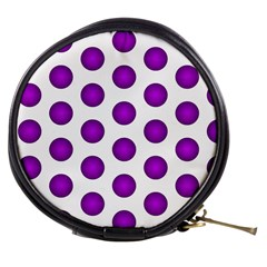 Purple And White Polka Dots Mini Makeup Case