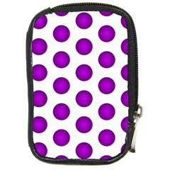 Purple And White Polka Dots Compact Camera Leather Case