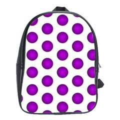 Purple And White Polka Dots School Bag (Large)