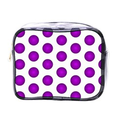 Purple And White Polka Dots Mini Travel Toiletry Bag (one Side)