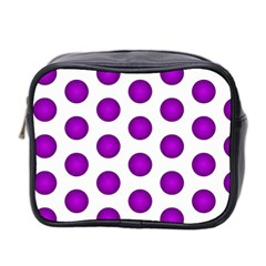 Purple And White Polka Dots Mini Travel Toiletry Bag (two Sides)