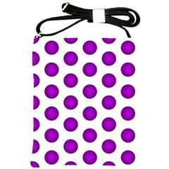 Purple And White Polka Dots Shoulder Sling Bag