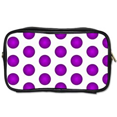 Purple And White Polka Dots Travel Toiletry Bag (two Sides)
