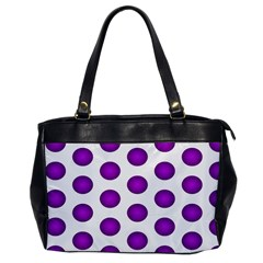 Purple And White Polka Dots Oversize Office Handbag (One Side)