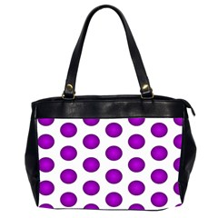 Purple And White Polka Dots Oversize Office Handbag (Two Sides)