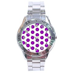 Purple And White Polka Dots Stainless Steel Watch