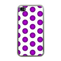 Purple And White Polka Dots Apple iPhone 4 Case (Clear)