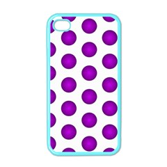 Purple And White Polka Dots Apple Iphone 4 Case (color)