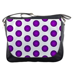 Purple And White Polka Dots Messenger Bag