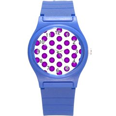 Purple And White Polka Dots Plastic Sport Watch (small)