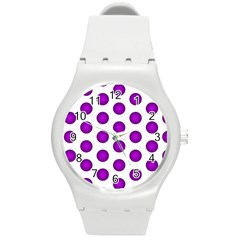 Purple And White Polka Dots Plastic Sport Watch (Medium)