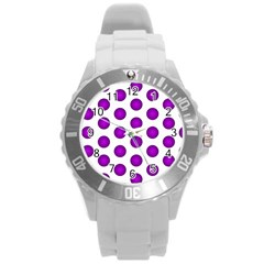 Purple And White Polka Dots Plastic Sport Watch (Large)