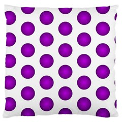 Purple And White Polka Dots Large Cushion Case (two Sided)