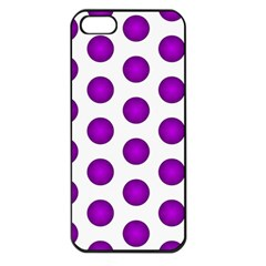 Purple And White Polka Dots Apple iPhone 5 Seamless Case (Black)
