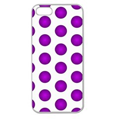 Purple And White Polka Dots Apple Seamless Iphone 5 Case (clear)
