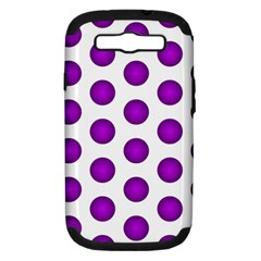 Purple And White Polka Dots Samsung Galaxy S III Hardshell Case (PC+Silicone)