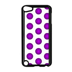 Purple And White Polka Dots Apple iPod Touch 5 Case (Black)