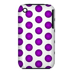 Purple And White Polka Dots Apple iPhone 3G/3GS Hardshell Case (PC+Silicone)