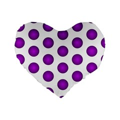 Purple And White Polka Dots 16  Premium Heart Shape Cushion