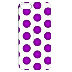 Purple And White Polka Dots Apple iPhone 5 Hardshell Case with Stand