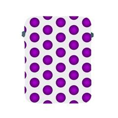 Purple And White Polka Dots Apple Ipad Protective Sleeve