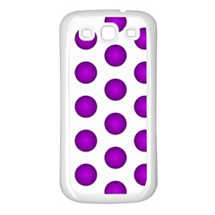Purple And White Polka Dots Samsung Galaxy S3 Back Case (White)