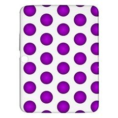Purple And White Polka Dots Samsung Galaxy Tab 3 (10.1 ) P5200 Hardshell Case