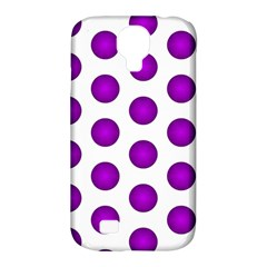 Purple And White Polka Dots Samsung Galaxy S4 Classic Hardshell Case (PC+Silicone)