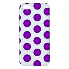 Purple And White Polka Dots iPhone 5S Premium Hardshell Case