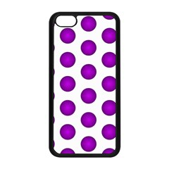 Purple And White Polka Dots Apple iPhone 5C Seamless Case (Black)