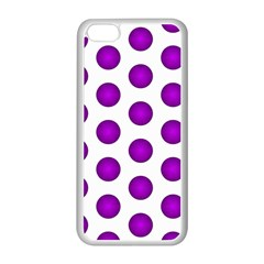 Purple And White Polka Dots Apple Iphone 5c Seamless Case (white)