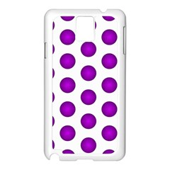 Purple And White Polka Dots Samsung Galaxy Note 3 N9005 Case (White)
