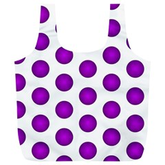 Purple And White Polka Dots Reusable Bag (XL)