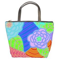 Summer Flowers Small Purse Bucket Handbag