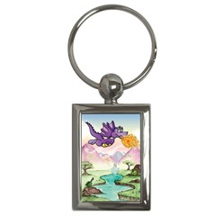 The Wee Purple Dragon Key Chain (Rectangle)