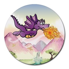 The Wee Purple Dragon Flying 8  Mouse Pad (Round)
