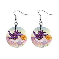 The Wee Purple Dragon Flying Mini Button Earrings