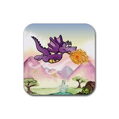 The Wee Purple Dragon Flying Drink Coaster (Square)