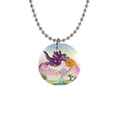 The Wee Purple Dragon Flying Button Necklace